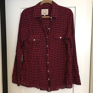 Tops - Bell 100% Cotton Red/Navy Wrinkled Button Up, 12